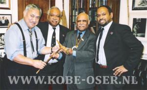 Congressman Eni Faleomavaega, West Papua President in Exile Bernard Kaisiëpo Ms., Chief Port Numbai Gerson Musa Kaigere, Kobe Oser member Menase W. Kaisiëpo Ms.